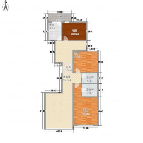 柳逸花苑3室1厅2卫1厨177.00㎡户型图