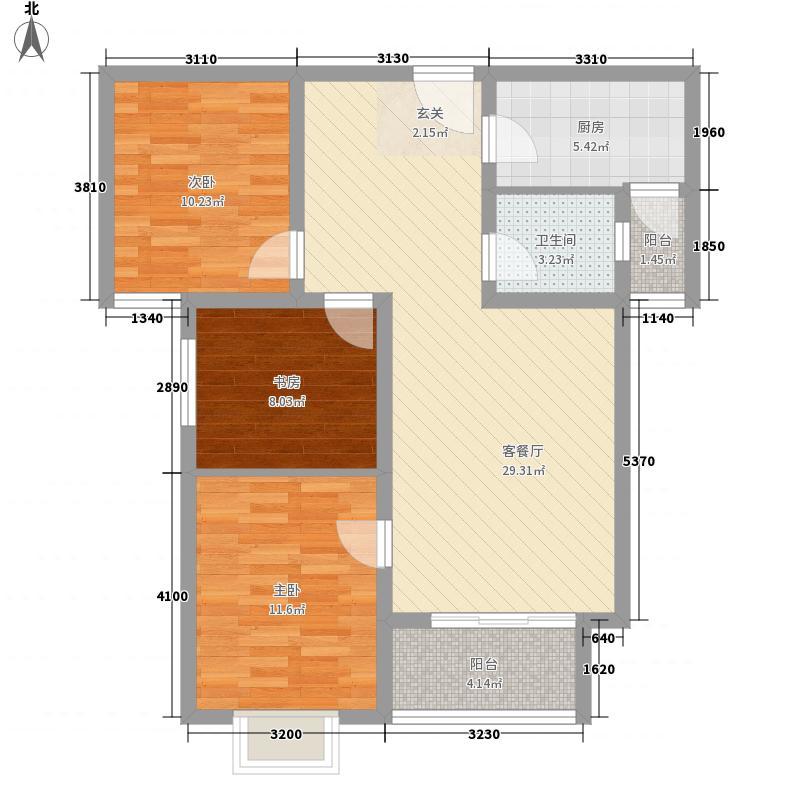金牛水岸国际花园户型3室