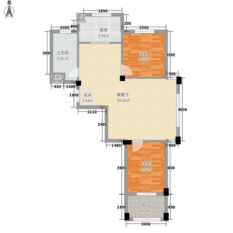 时间公园燕园户型2室2厅1卫1厨