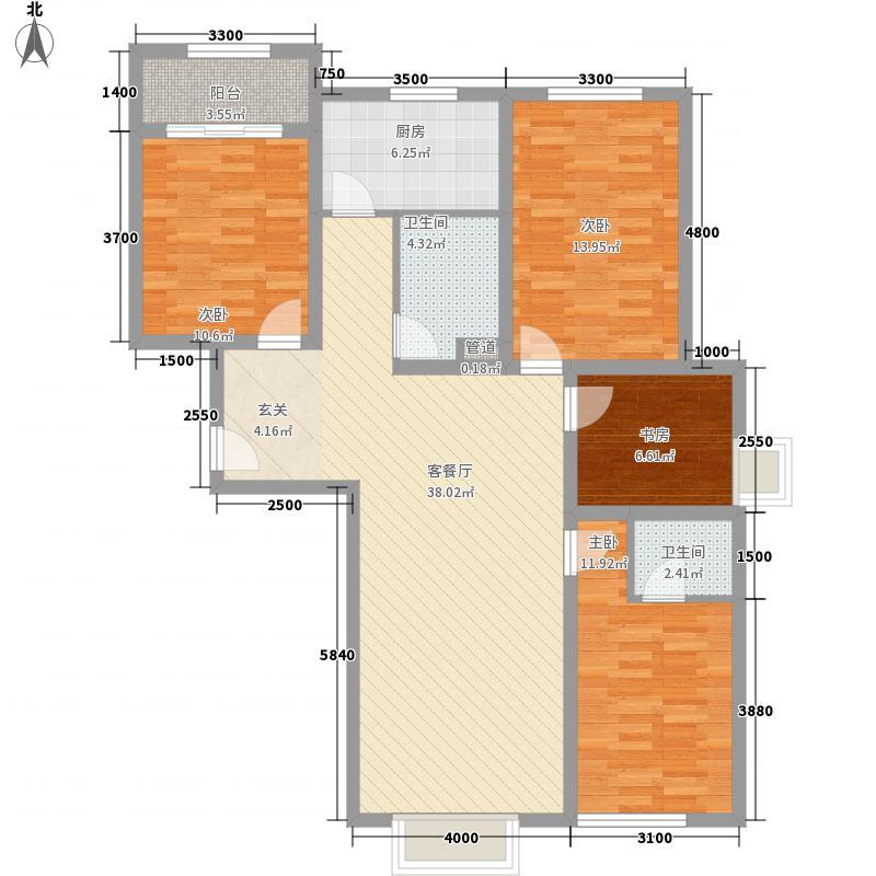 鸿伯园小区1户型4室2厅2卫1厨