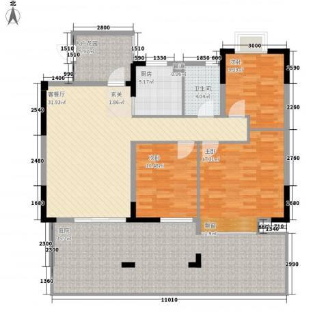 新城豪庭3室1厅1卫1厨165.00㎡户型图