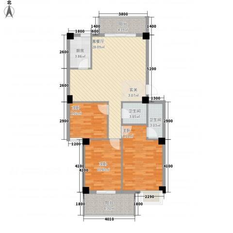 惠华花园3室1厅2卫1厨135.00㎡户型图