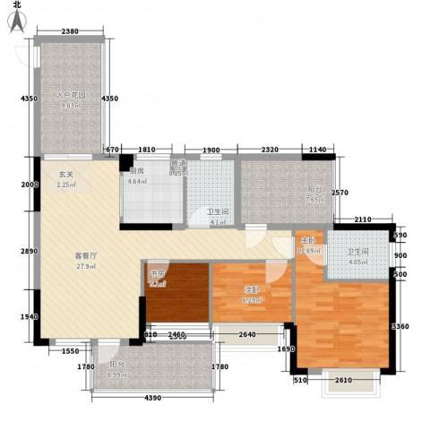 时代廊桥别墅3室1厅2卫1厨126.00㎡户型图