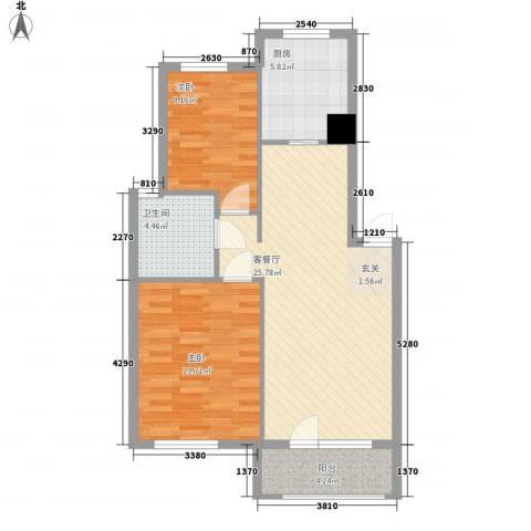 芙蓉花园2室1厅1卫1厨87.00㎡户型图