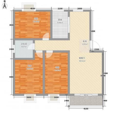 郦城水岸3室1厅1卫1厨136.00㎡户型图