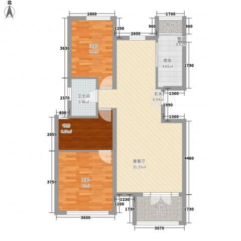 首开・国风海岸3室1厅1卫1厨73.06㎡户型图