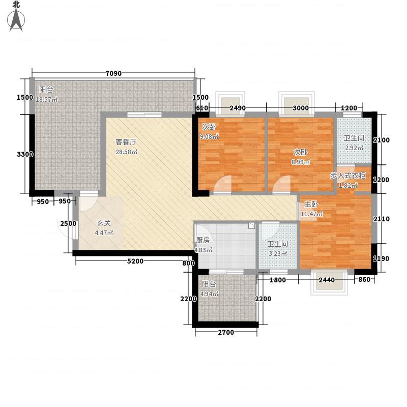 瑞丰国际3室1厅2卫1厨114.00㎡户型图