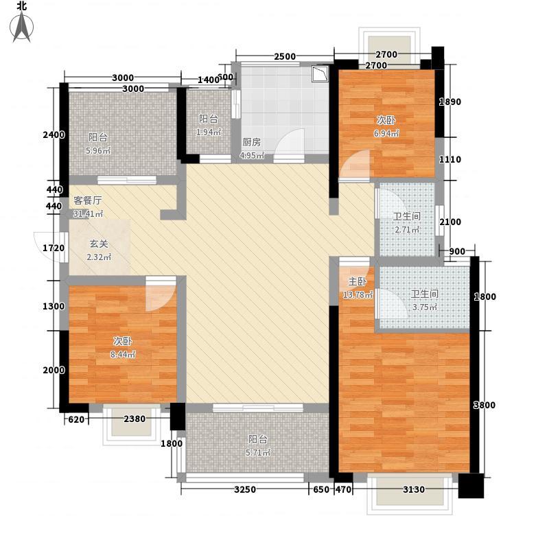 内江万达广场・中央华城117.20㎡万达15号楼和7号楼户型4室2厅2卫1厨