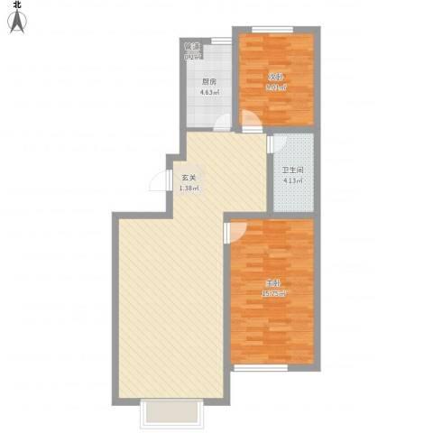 万达嘉园2室1厅1卫1厨96.00㎡户型图