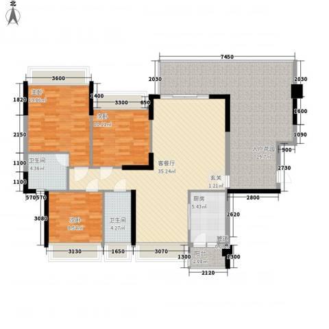 东城四季3室1厅2卫1厨113.67㎡户型图
