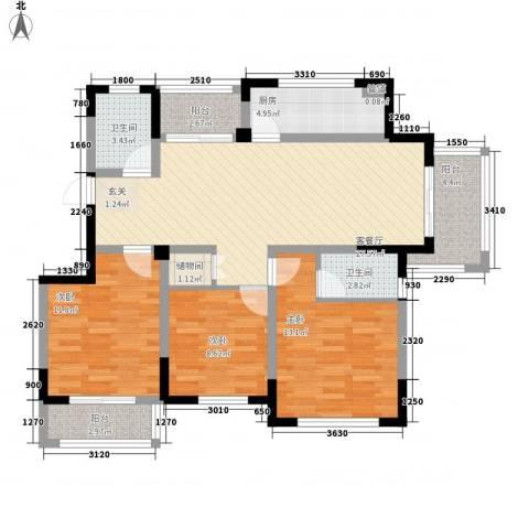 华建雅园3室1厅2卫1厨123.00㎡户型图