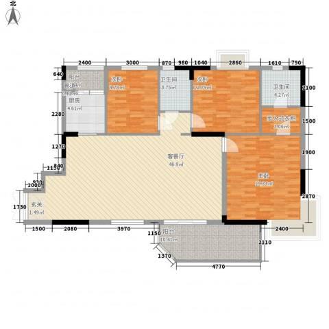 太和城市花园3室1厅2卫1厨126.00㎡户型图