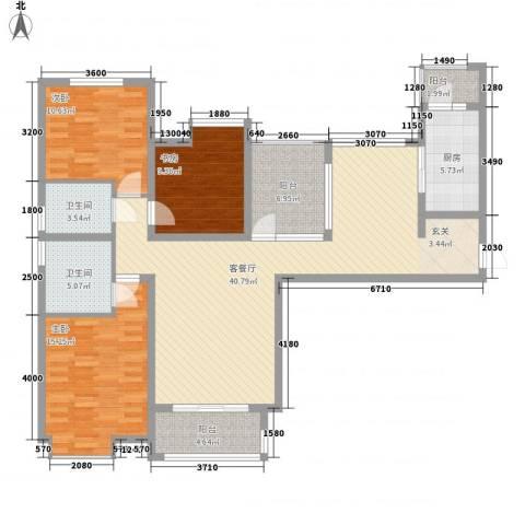 亚美大厦聚福阁3室1厅2卫1厨123.00㎡户型图