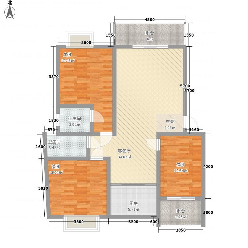 柳西新城18.00㎡29栋B户型3室2厅2卫1厨