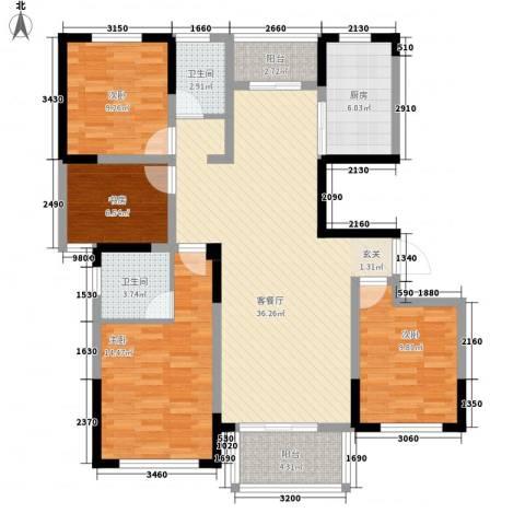 华建雅园4室1厅2卫1厨139.00㎡户型图