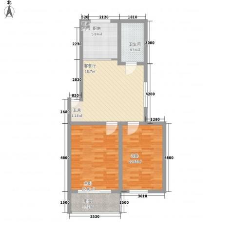 嘉和苑2室1厅1卫1厨78.00㎡户型图