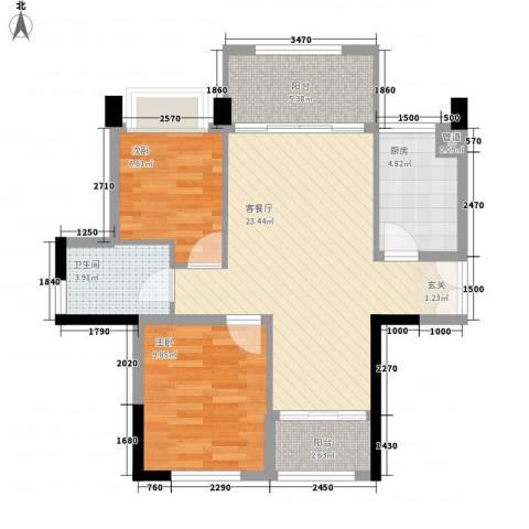 绿茵温莎堡香堤2室1厅1卫1厨82.00㎡户型图