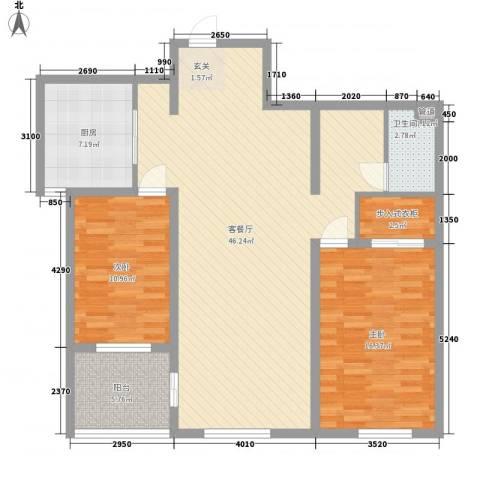 峰汇公馆2室1厅1卫1厨91.93㎡户型图