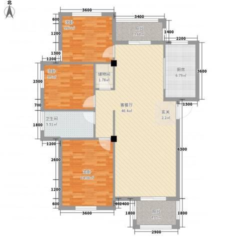 景泰园3室1厅1卫1厨134.00㎡户型图