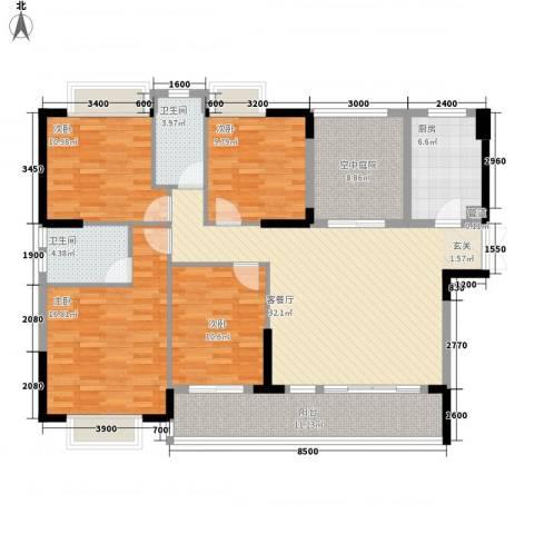 谷山庭院项目4室1厅2卫1厨163.00㎡户型图