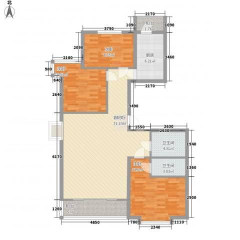 中央学府3室1厅2卫1厨125.00㎡户型图