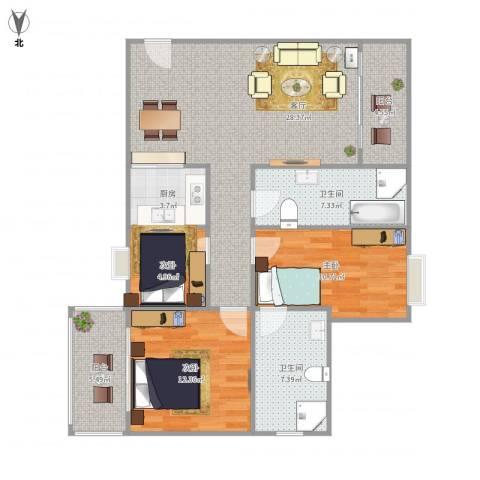 海岸明珠3室1厅2卫1厨115.00㎡户型图