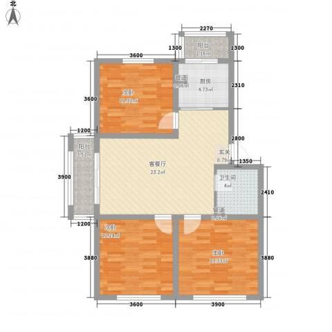 光机八区3室1厅1卫1厨108.00㎡户型图
