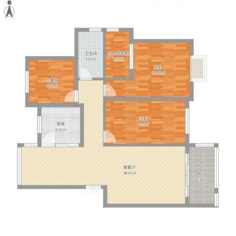 瑞园小区19-1-2013室1厅1卫1厨146.00㎡户型图