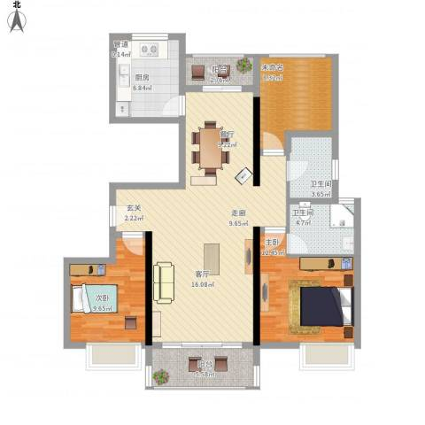 鑫苑世家2室1厅2卫1厨131.00㎡户型图