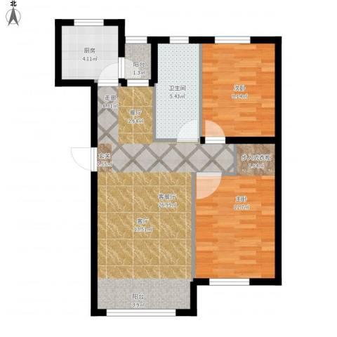 知润山2室1厅1卫1厨84.00㎡户型图