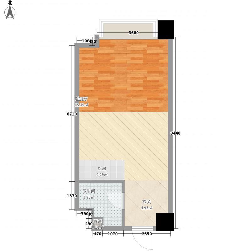 国科・星天地A2户型1室1厅1卫1厨