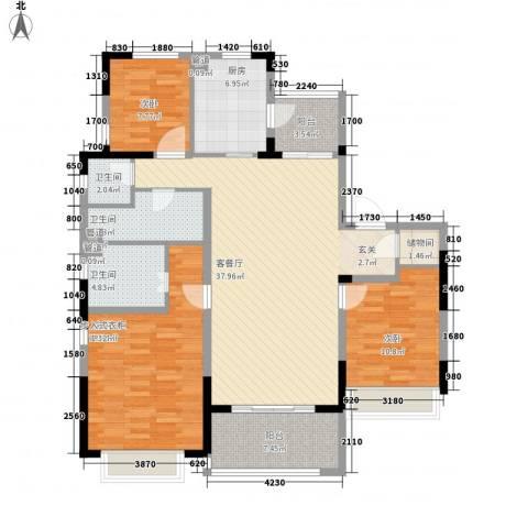 吴月雅境3室1厅3卫1厨107.01㎡户型图