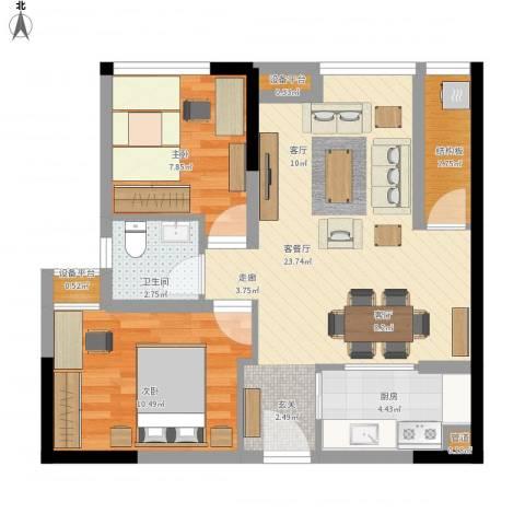 大有智慧广场2室1厅2卫1厨77.00㎡户型图