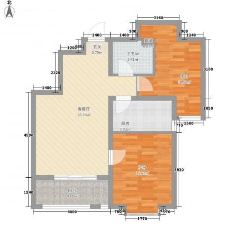 锦绣鹏城2室1厅1卫1厨86.00㎡户型图