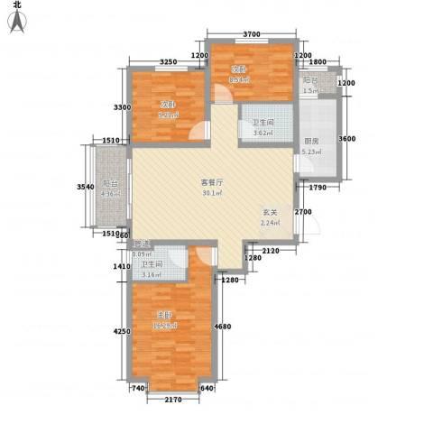 锦绣鹏城3室1厅2卫1厨118.00㎡户型图