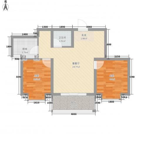 锦绣鹏城2室1厅1卫1厨79.00㎡户型图