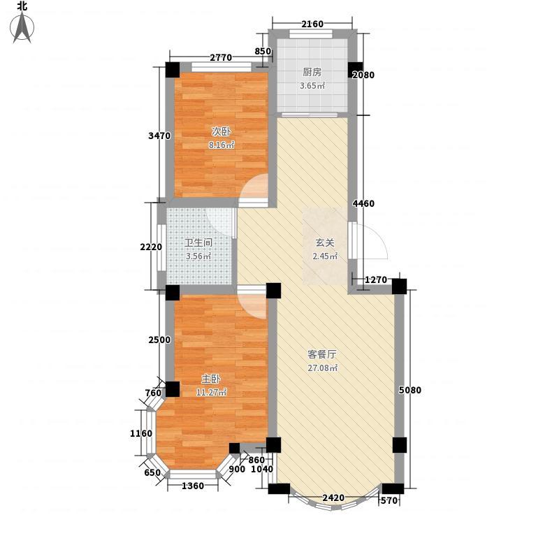 朝阳72.20㎡小区户型2室2厅1卫1厨