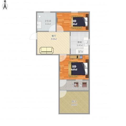 湄长新村2室1厅1卫1厨55.00㎡户型图