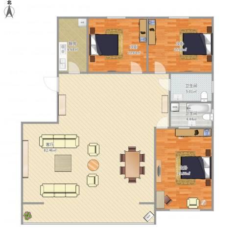 上龙西里3室1厅2卫1厨194.00㎡户型图