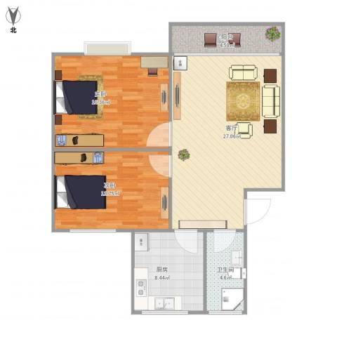 丽泽兰馨苑58号201室80平2室1厅1卫1厨80.00㎡户型图