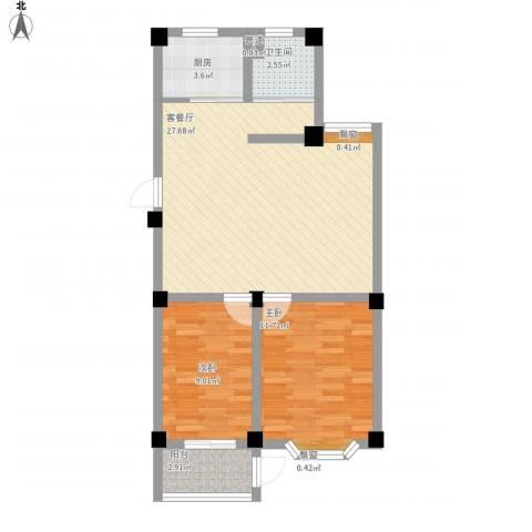 西涝台御鑫园2室1厅1卫1厨83.00㎡户型图