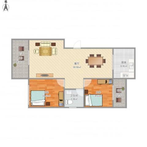 桦润馨居一期2室1厅1卫1厨92.00㎡户型图