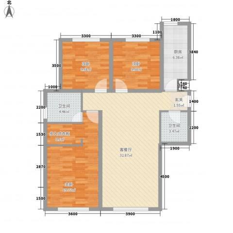 亲水湾・�园3室1厅2卫1厨123.00㎡户型图