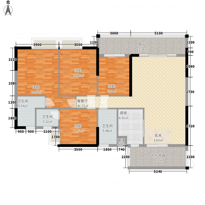 裕达・中央城177.00㎡江临天下6#楼4~31层1、2户型4室2厅2卫1厨