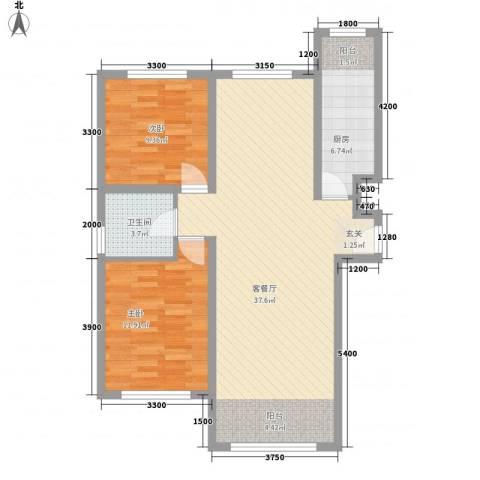亲水湾・�园2室1厅1卫1厨98.00㎡户型图