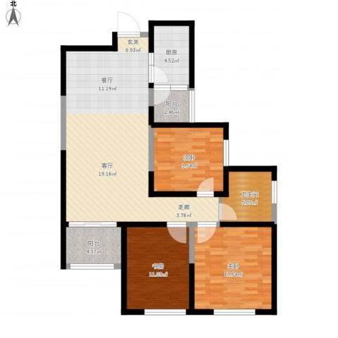 国润城3室1厅1卫1厨123.00㎡户型图