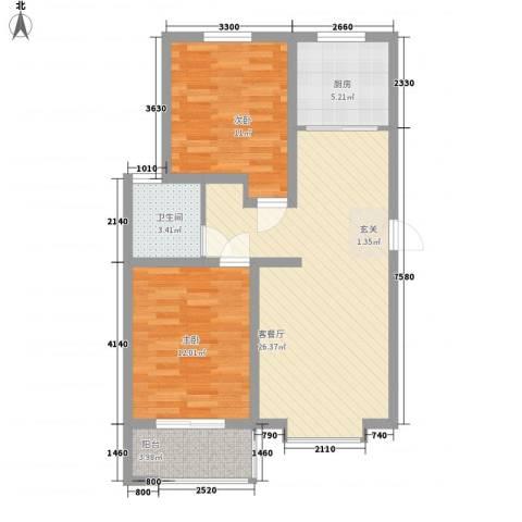 熙凤居2室1厅1卫1厨61.98㎡户型图