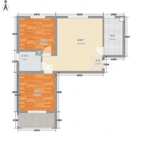 熙凤居2室1厅1卫1厨85.00㎡户型图