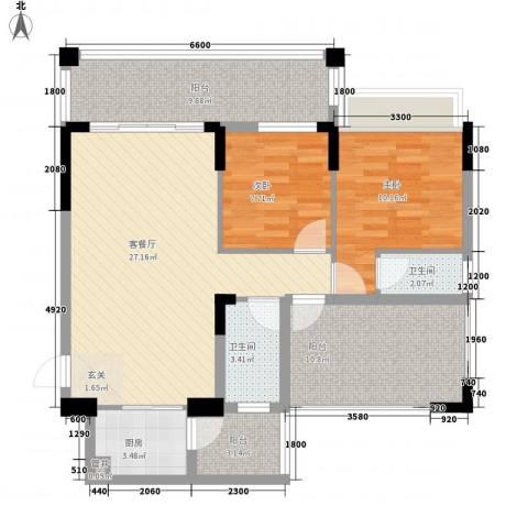 翡翠名苑2室1厅2卫1厨88.00㎡户型图