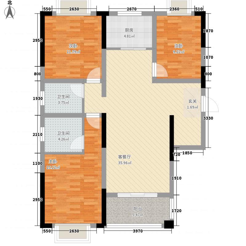 滨江怡景122.00㎡E户型3室2厅2卫1厨